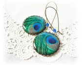 Peacock feather earrings, peacock feather jewelry, free worldwide shipping, christmas gift for her