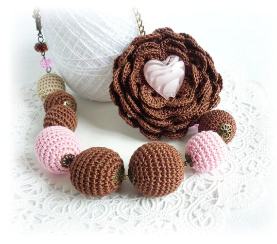 Brown Pink Crochet Necklace, Crochet Beads Necklace, Flower Necklace