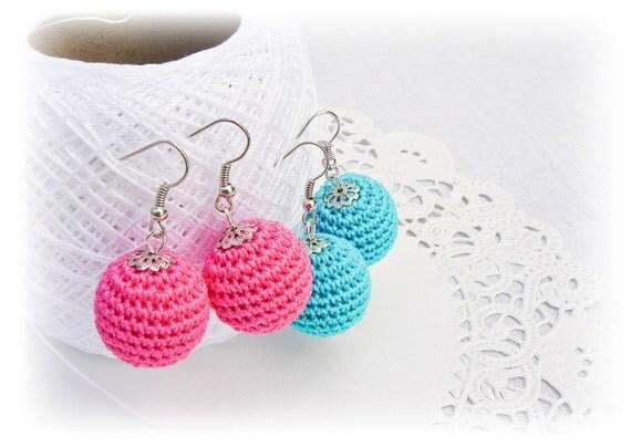Crochet pink and blue earrings, crochet beads, neon earrings