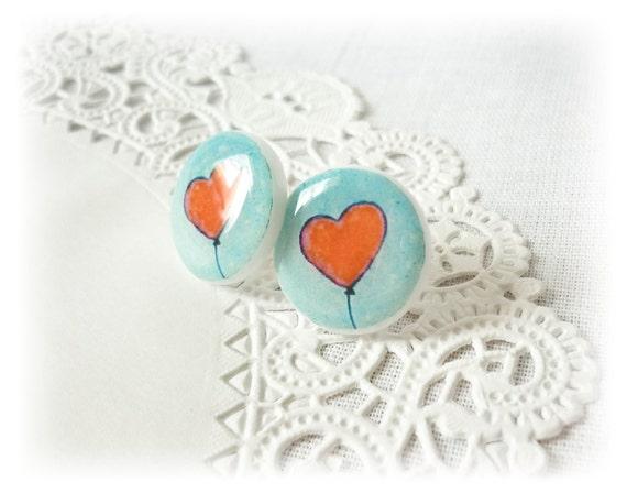Red heart stud earrings, post heart earrings, free worldwide shipping, christmas gift for he