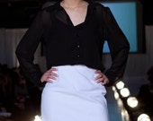Sheer Blouse with White Pencil Skirt