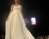 Bohomeian Bridal gown with empire waist, sweetheart neckline and one shoulder detail