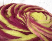 ROVINGS (Magenta and Chartreuse) All-Natural Hand and Plant Dyed Fine Wool and Kid Mohair Rovings, ready to Spin and Felt