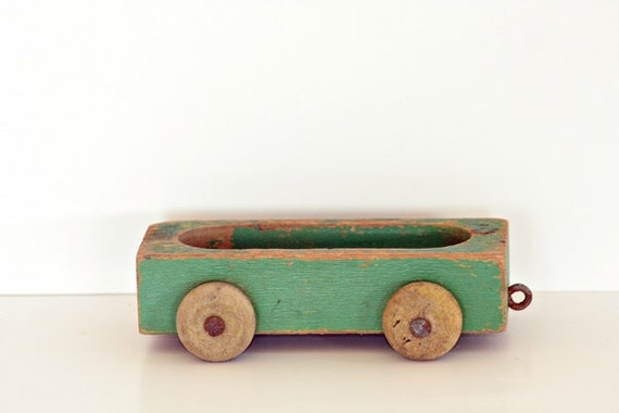 Vintage Playskool Wagon Train - Shabby Chic Wooden Play Toys - Weathered Green