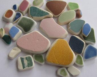 Pottery Ceramic Sea Glass - Beach Glass Genuine - Sea Glass Jewelry Making Supply