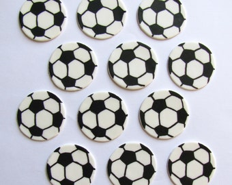 Fondant Cupcake Toppers - Soccer Balls (Large)