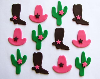 Fondant Cupcake Toppers - Cowgirl