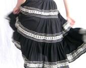 Black Ruffled Skirt. Size Small. Boho Silver Black White Applique 70s swing skirt. Gypsy Skirt. Halloween skirt