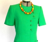 Green Mod Dress .Vintage Shirt Dress Mad Men Fashion. 80s Sheath Party Dress. Size Medium. Cocktail Dress. Summer Dress. St.Patric's Day