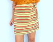 Vintage Wrap Short Skirt. Yellow Red Olive stripes. 80s Mini Skirt. Mad Men Fashion Women Skirt. Summer Skirt.
