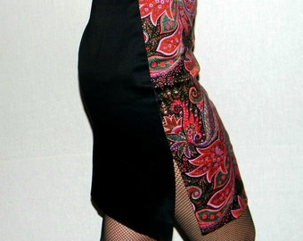 Vintage Bebe Skirt Paisley Black Purple Pencil Skirt Mini Skirt. Cocktail Skirt. Summer Skirt. Party Skirt