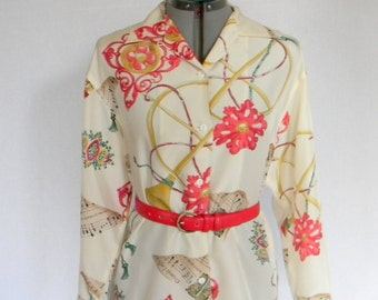 Vintage Silk Blouse. 70s Shirt with Music Print. Floral. Jazz Orchestra. Cream Red Gold Green. Mad Men Fashion.