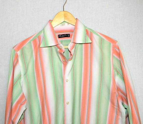 Vintage men's shirt. Kenneth Cole designer shirt. Father's Day gift.  Mad Men fashion. Size L Made in Italy Cotton Shirt