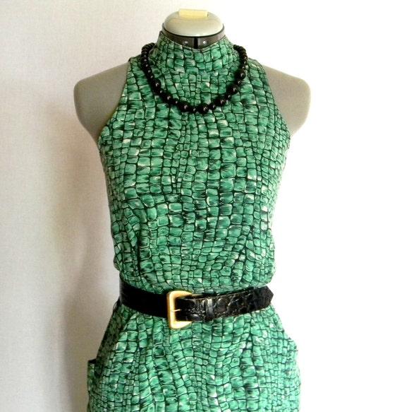 Fashion Summer Dress SALE Green Dress Emerald Dress  Cutout Halter Dress Size 6 Medium Animal Print Spring Dress. Green Black Dress. Mad Men