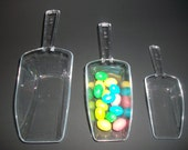 3 pc Clear Plastic Scoops Candy Buffet Wedding Party Bar Bridal Craft Favors