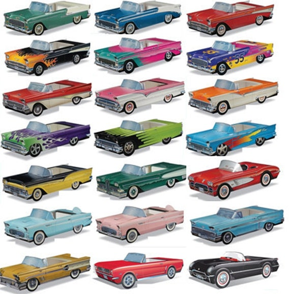 10 Ideas About Cardboard Box Cars On Pinterest: Items Similar To 10 Pack Cardboard Classic Cars Boxes 1950