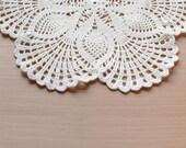 White pineapple doily: white handmade cotton crochet doily - pineapple
