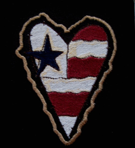 Patch Embroidered Flag Heart  4""