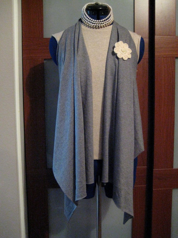Repurposed Vest Shawl Upcycled Size S M