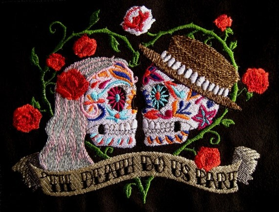 """Patch Embroidered Skull Wedding Couple 6"""""""