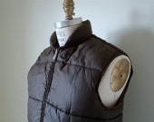 Brown Puffy Nylon Ski Vest / mens vintage jacket / medium