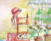 ORIGINAL WATERCOLOR painting, red hat, calico cat, red boots