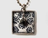 SUMMER DAY DANDELION bezel pendant necklace with beaded charm