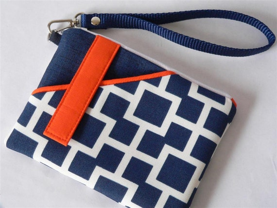 SALE - Cosmetic/Phone Wristlet in Navy Geometric with Tangerine Color Blocking
