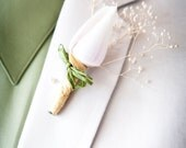 TWO - Men's Beach Wedding White Shell Boutonnieres - Boutineers