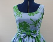 RESERVED for  Barbara 1950s style custom order Dress blue and green from an original pattern