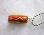 Miniature Polymer Clay Hot Dog Necklace.