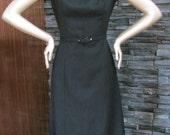 60's Peck and Peck Sleeveless Black Wool Dress