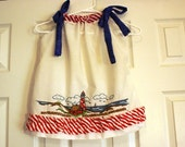 Girls Pillowcase Dress Hand Embroidered Nautical Red White Blue Lighthouse Vintage