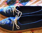 Woman's Hand Painted Bicycle Blue Canvas Shoe