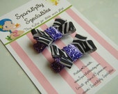 Baby, toddler or dog- tiny non-slip hair clips, 1 set of 2, Zebra & purple