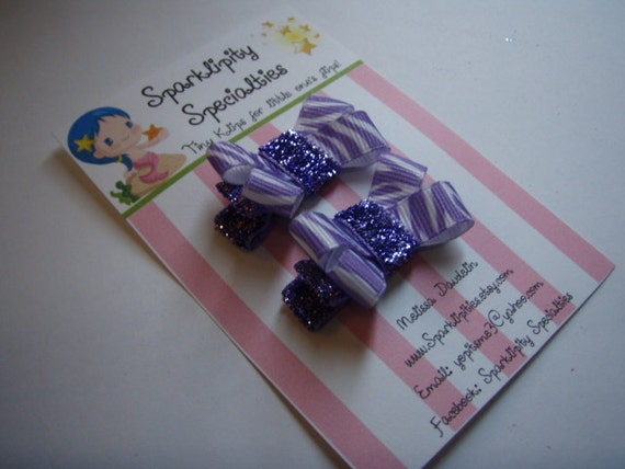 Baby, toddler or dog- tiny non-slip hair clips, 1 set of 2, purple zebra