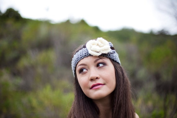 SALE Heather Grey Flower Headband