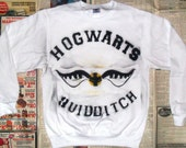 NEW White Hogwarts Quidditch Crewneck Sweater (Sizes: S - XL)