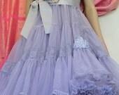 Mermaid Miss K revived lilac & platinum chiffon lace petticoat cupcake prom dress