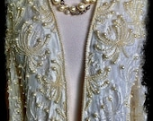1980s vintage ivory white beaded pearl & sequin lace jacket