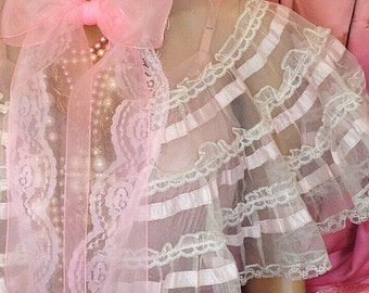 Mermaid Miss K white pale pink edwardian crinoline organza lace capelet