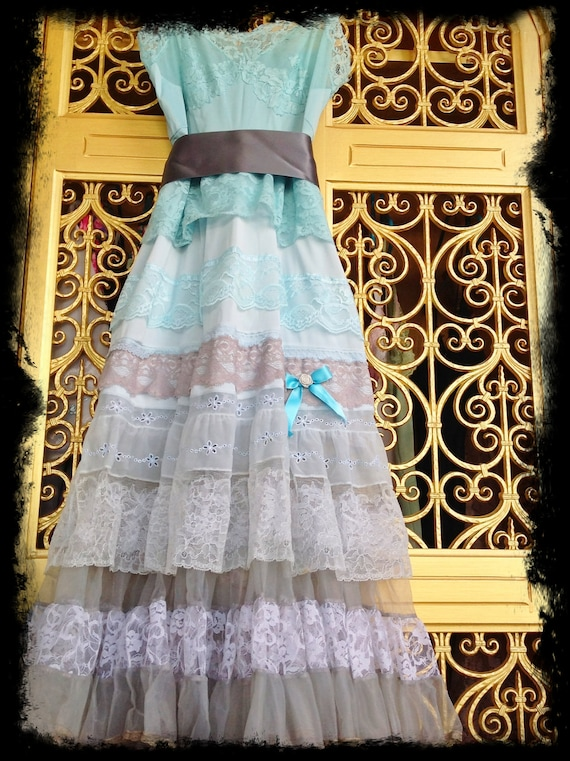Mermaid Miss K revived taupe gray pale aqua lace petticoat boho prom dress