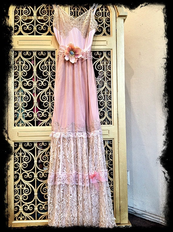 Ballerina Pink Dusty Pink Amp Cream Lace Boho Maxi Wedding Party