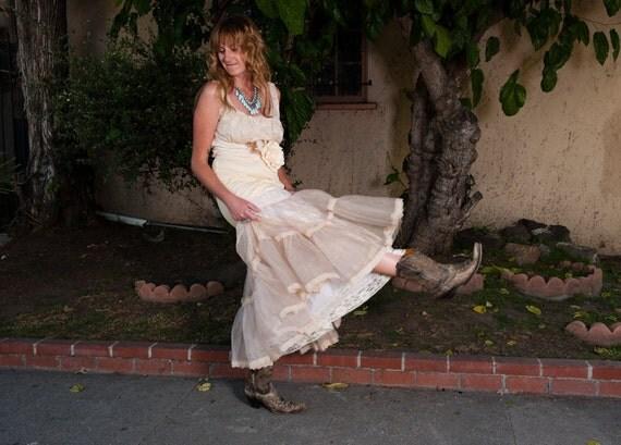 lace petticoat boho dress revived butter cream & tan crisp tulle medium by Mermaid Miss K