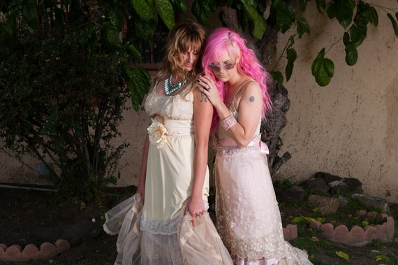 petticoat maxi dress revived bone & whisper pink embroidered organza  by Mermaid Miss K
