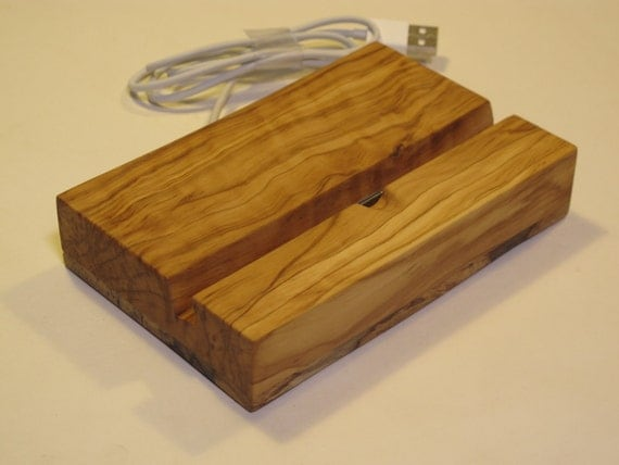 iPad Charging Stand - Rescued Olive and Citrus Wood