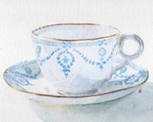 Tea Cup and Saucer watercolour blue and white original painting unframed