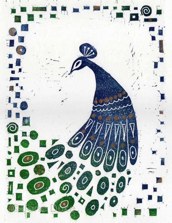 Peacock Linocut Relief Print unframed blue green gold Klimt original linoprint