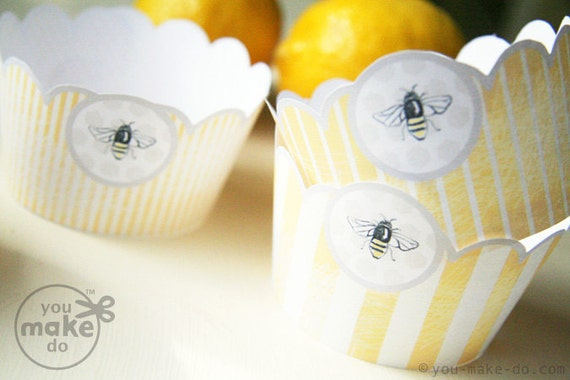 INSTANT DOWNLOAD Bumble Bee Party Decorations Baby Shower Printables Birthday 1st