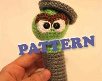 PATTERN Instant Oscar The Grouch Sesame Street Baby Rattle Crochet